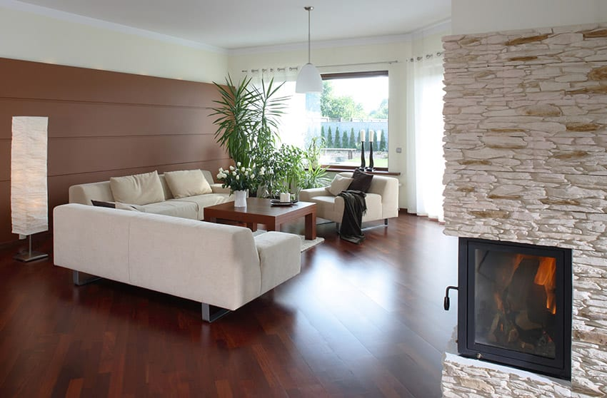 Luxury modern living room with wood flooring and fireplace