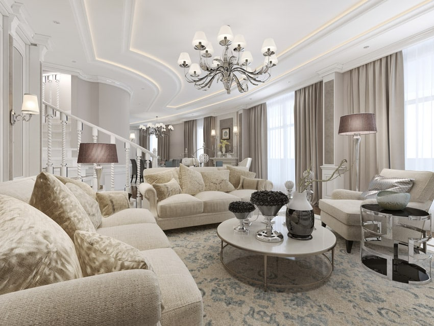 Luxury formal living space with elegant furniture pieces