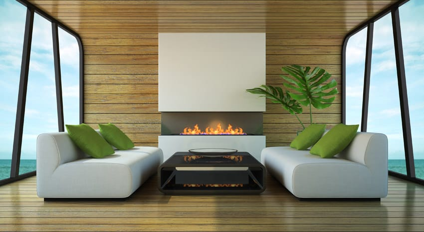 Matching sides living room with modern design and fireplace