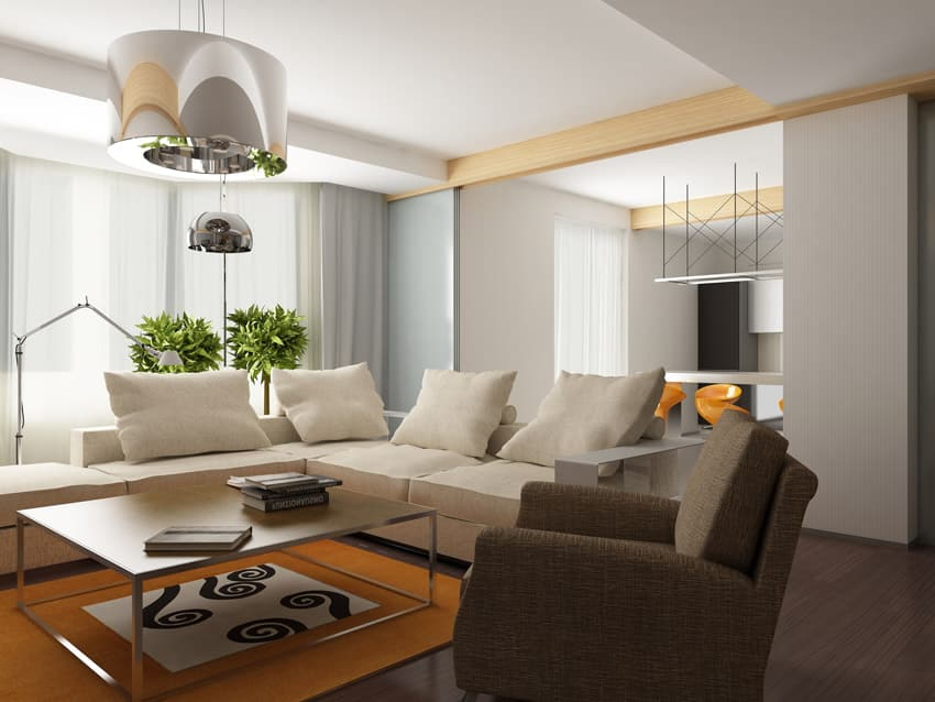 Modern interior with comfortable furniture