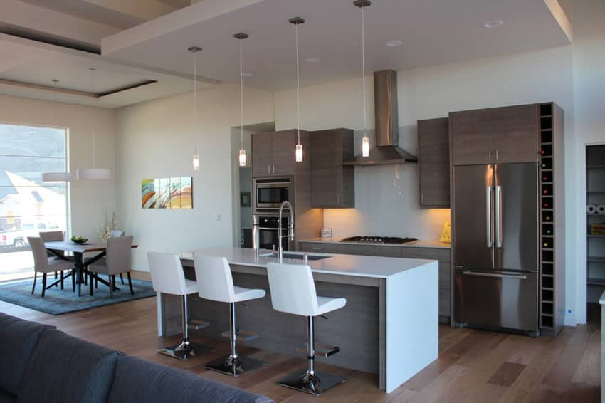 Modern kitchen with dining island