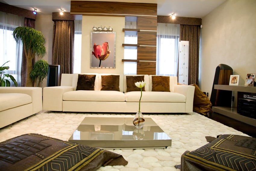 Modern living room richly furnished with Asian design
