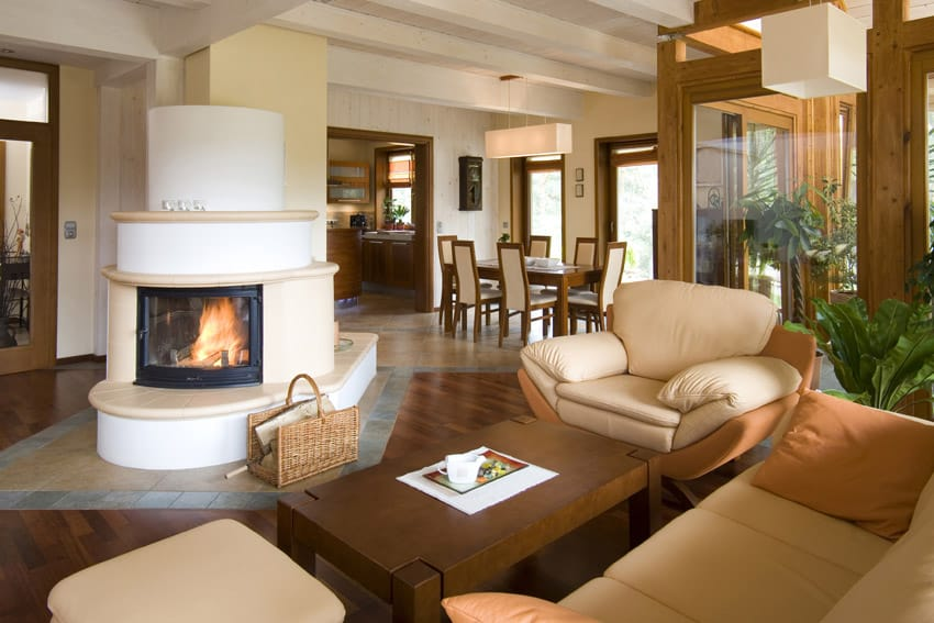 Modern living room with center fireplace