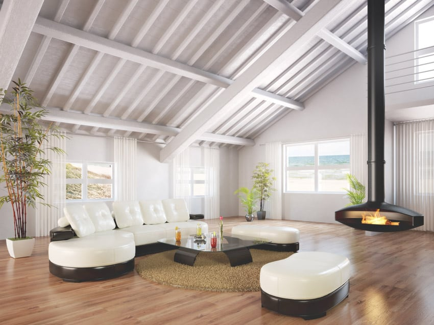 Modern living room with high vaulted ceilings