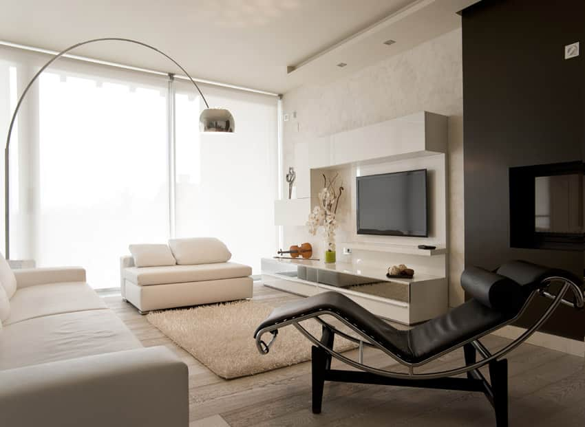 Modern living room with long armed light