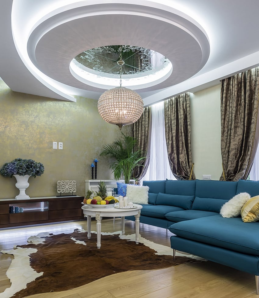 Modern room with circular design ceiling and wood flooring