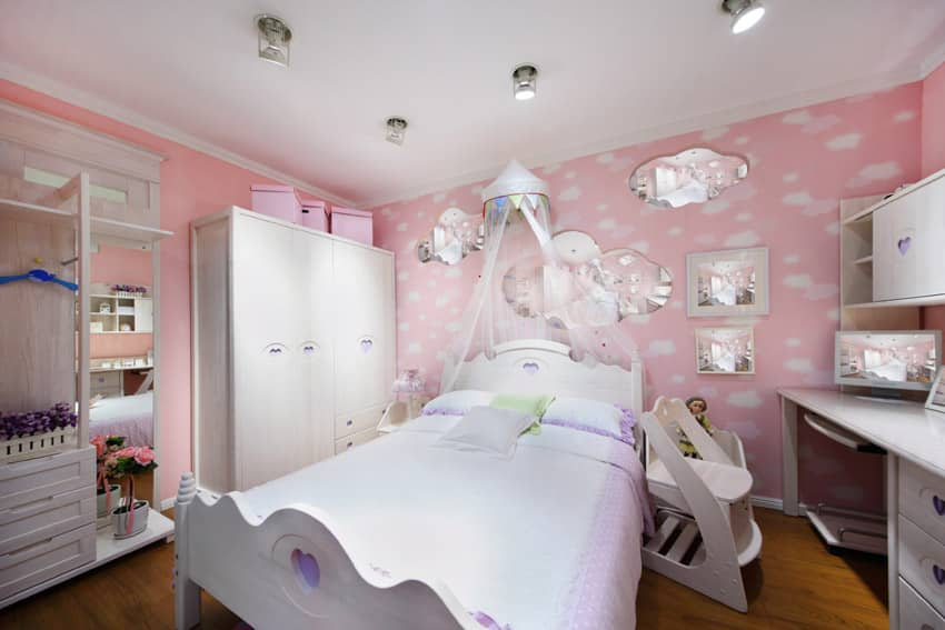 Pink and white girls bedroom design