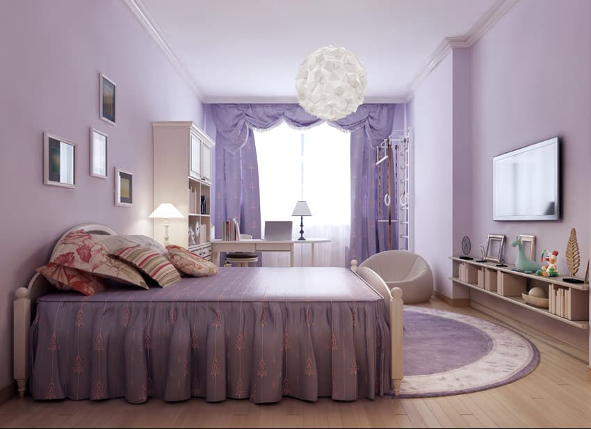 Purple color design girls room