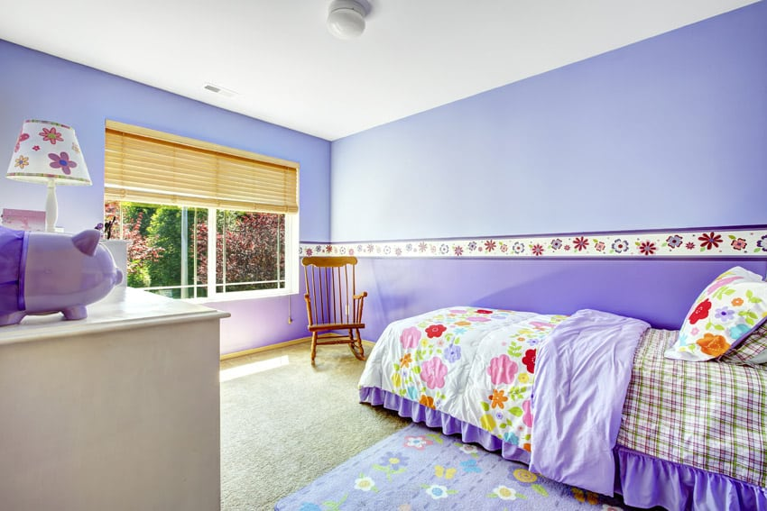 Purple painted girls bedroom