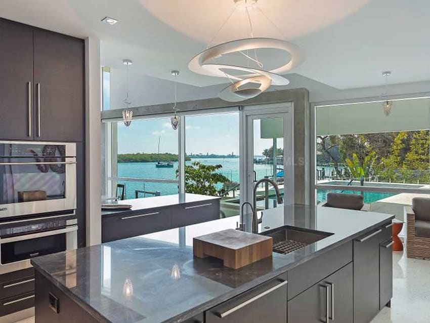 Small modern kitchen with water view
