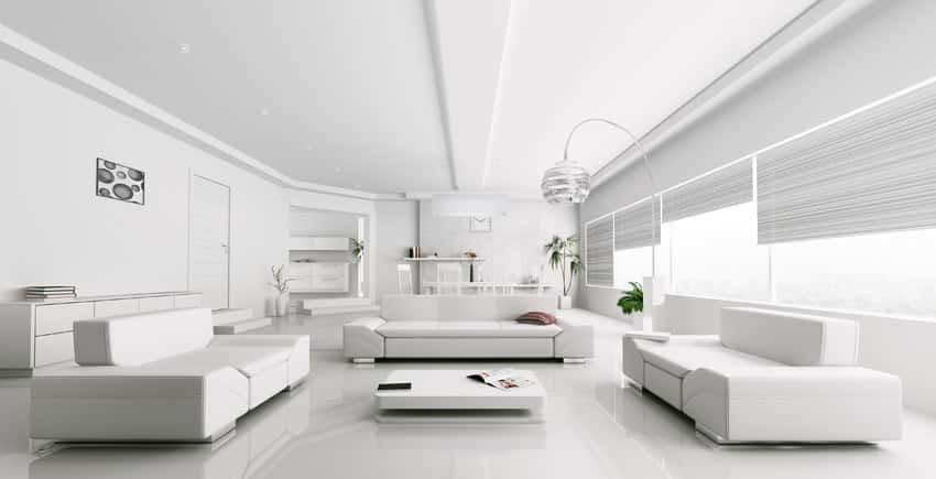 Ultra white modern living room with futuristic feel