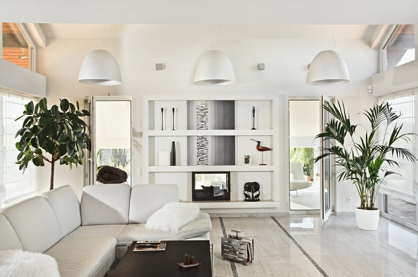 White themed modern living room space