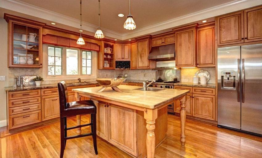Wood surface kitchen island