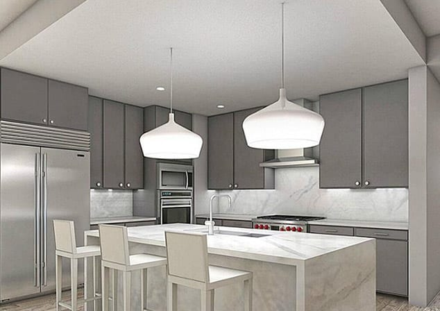 Close up of kitchen pendant lighting for remodel