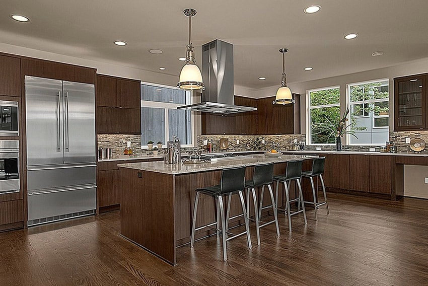 attractive Kitchen Remodel Calculator Online #3: Contemporary kitchen with brown cabinets and glass backsplash