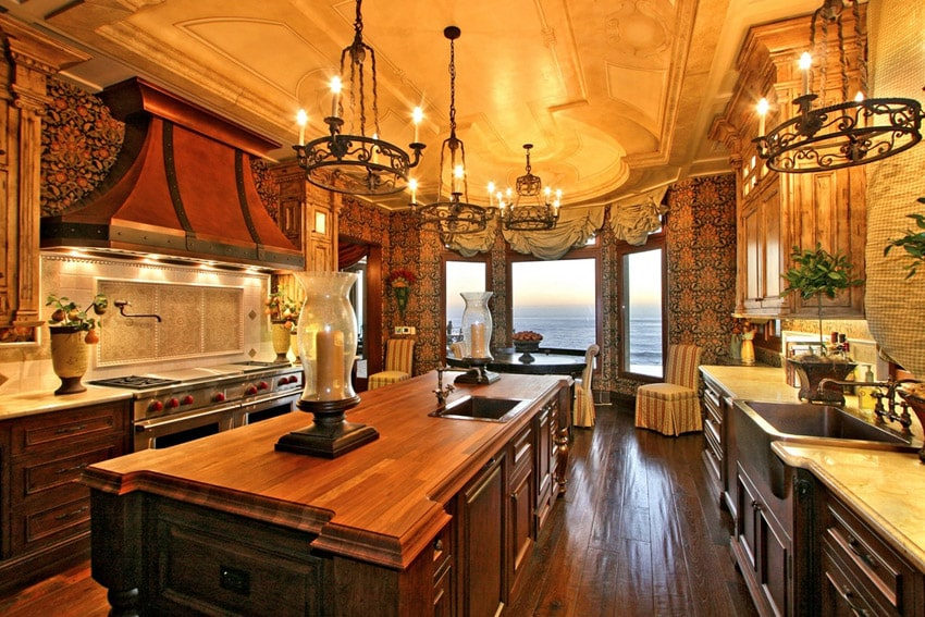 Elegant kitchen with island and butcher block counters