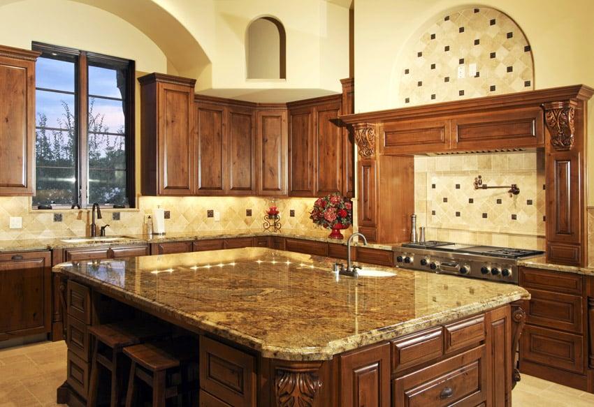 Italian style kitchen with tile backsplash