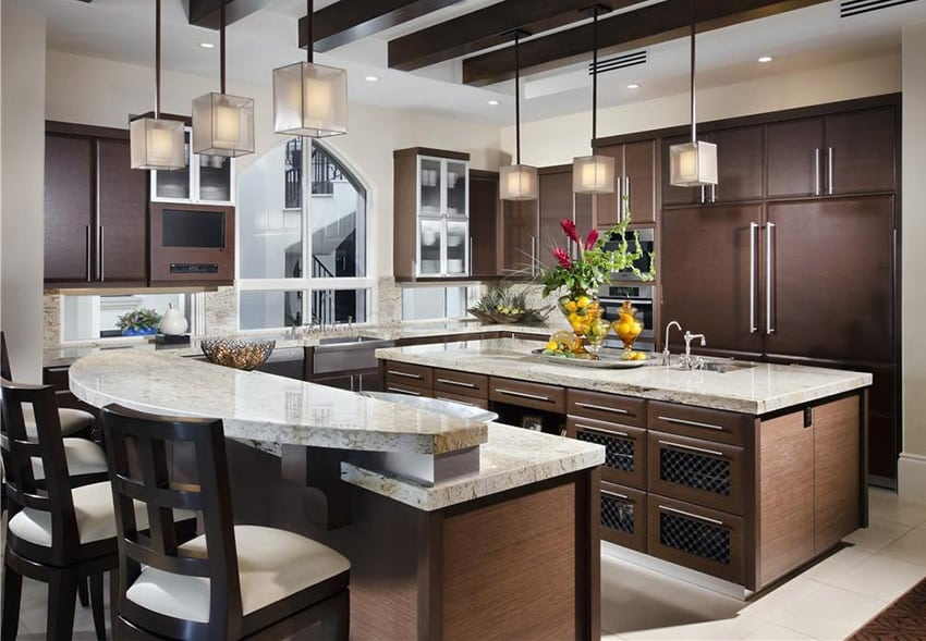 charming Average Cost Of Kitchen Remodel Per Square Foot #8: Kitchen with bianco romano granite countertop and brown cabinets