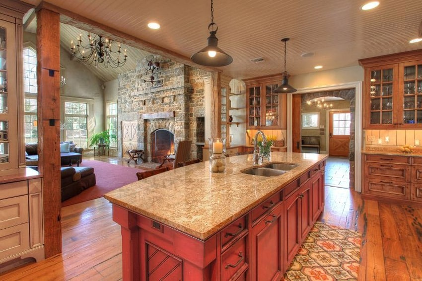 Kitchen with three color wood cabinets