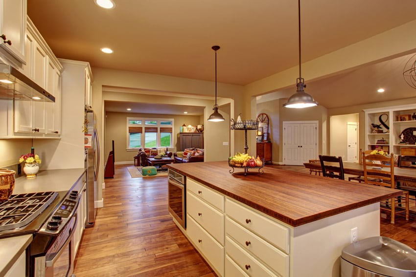 Kitchen with wood counters and floors