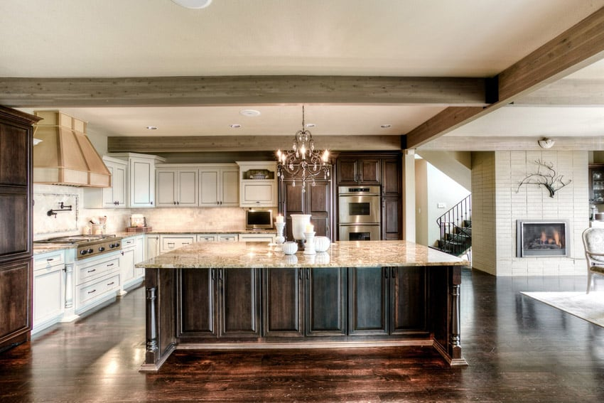 Luxury kitchen with creama cappuccino marble counter and large island