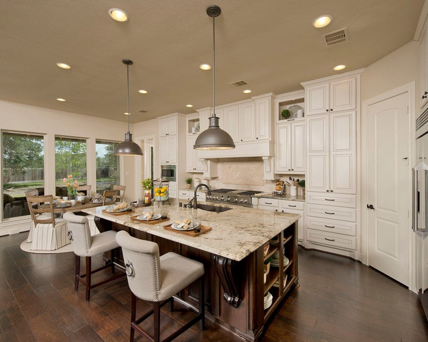 Luxury kitchen with open plan and patagonia granite counters