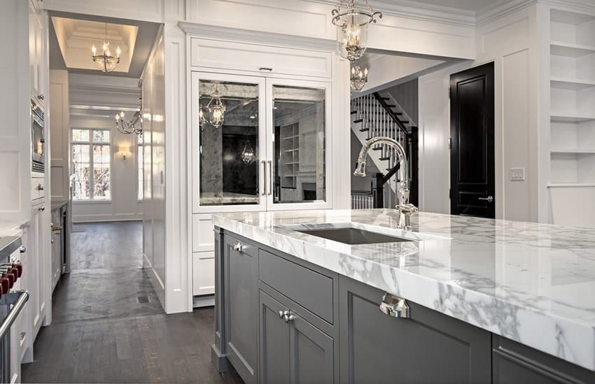 ordinary Average Cost Of Kitchen Remodel Per Square Foot #7: Small kitchen with white and grey cabinets and marble counter