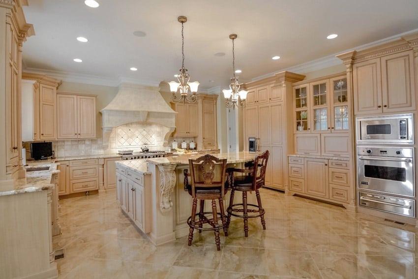 Traditional kitchen with alpine white granite counters
