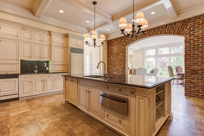 Traditional kitchen with coffered ceiling white flat panel cabinets