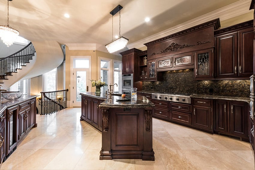 63 beautiful traditional kitchen designs designing idea for Traditional dark kitchen cabinets
