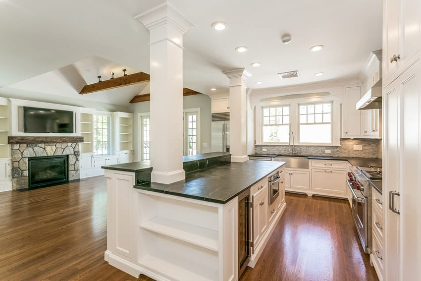 Traditional kitchen with soapstone countertops