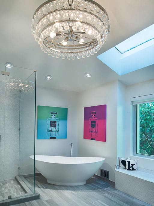 Bathroom with glass chandelier