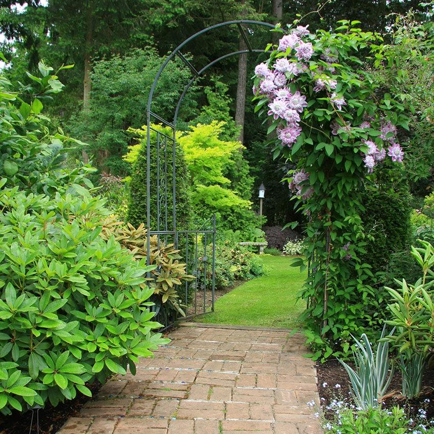 Brick pathway leading under trellis and past flowering plants