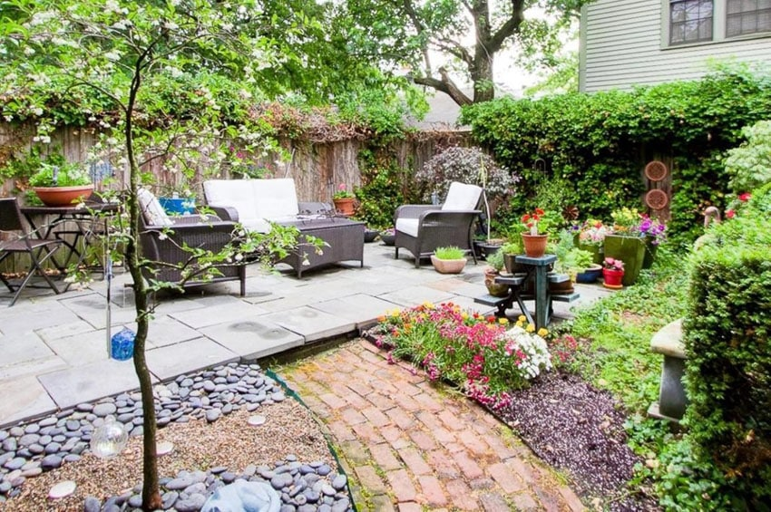 Brick path with river pebbles to sitting area
