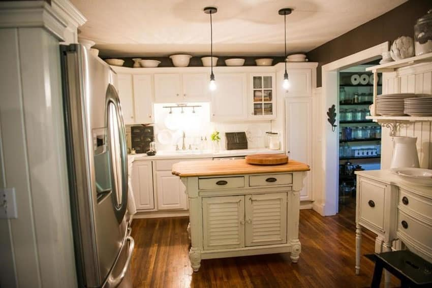 Butcher block island with antique style