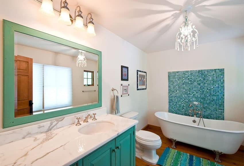 Contemporary bathroom with mosaic tile