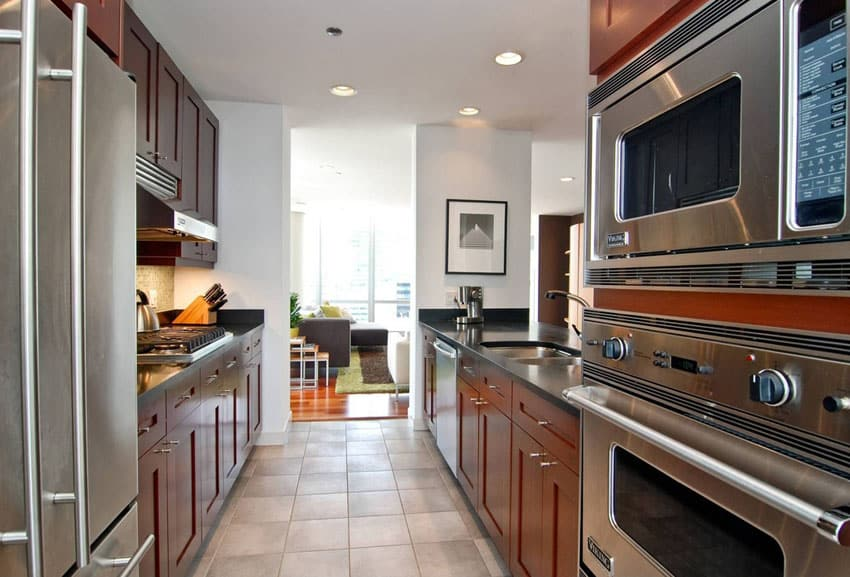 Contemporary galley kitchen with tile floors