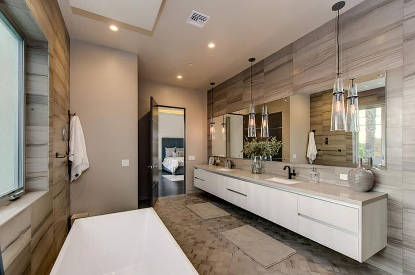 Contemporary master bathroom with retro cone shaped pendant lights