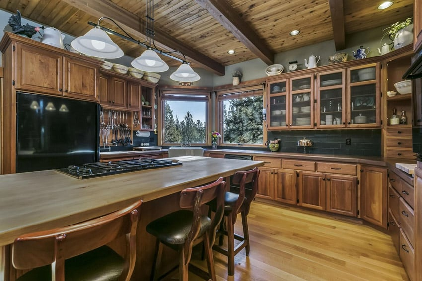 Country kitchen with butcher block island