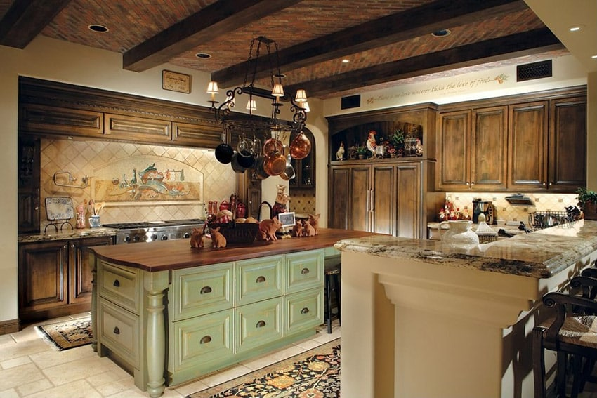 47 beautiful country kitchen designs pictures for Green country kitchen ideas