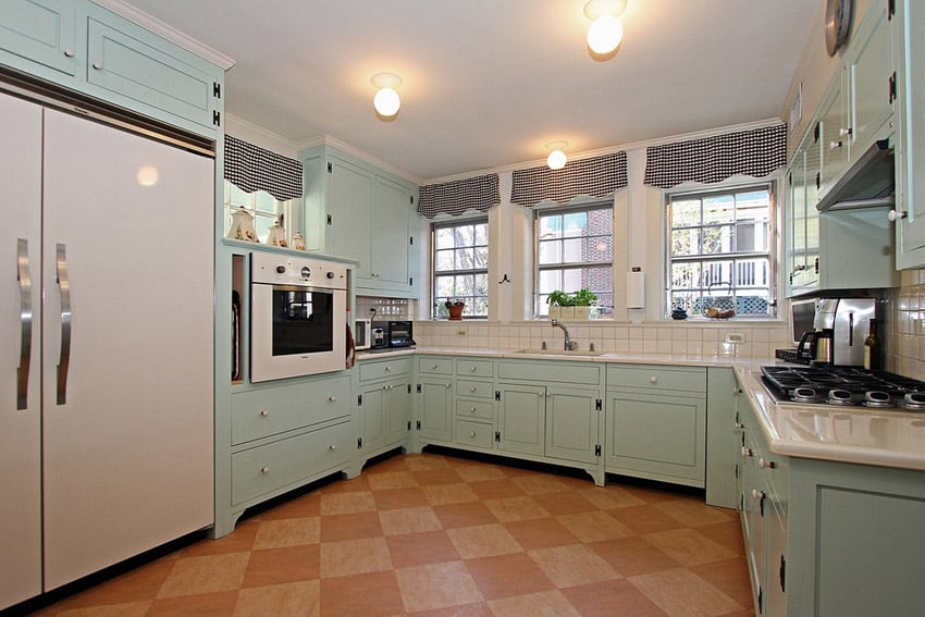 Country kitchen with mint cabinets