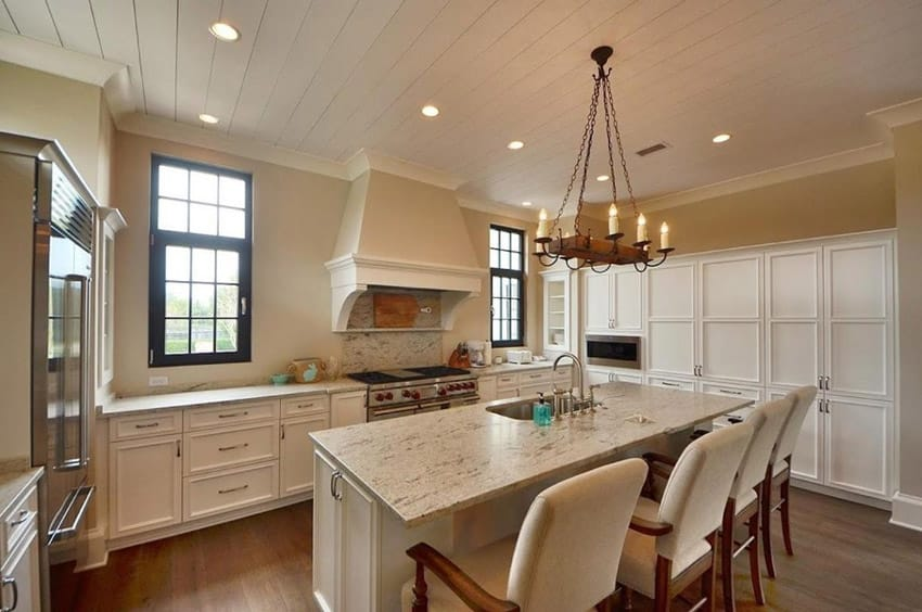 Country kitchen with old fashioned chandelier