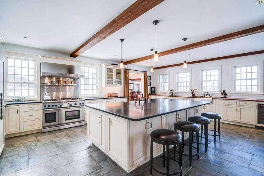 Country Kitchen With White Cabinets Dark Counters