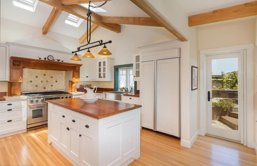 Country style kitchen with Brazilian cherry butcher block island