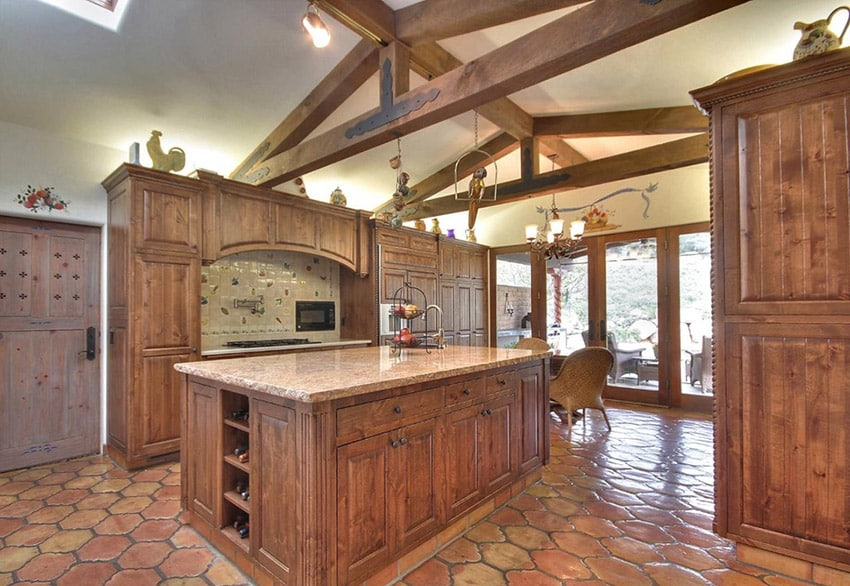 Custom country kitchen with baricato granite counters
