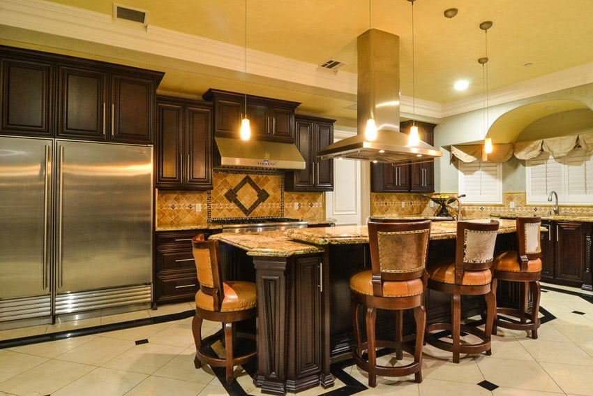 dark wengue solid wood kitchen cabinets gives this kitchen a classic