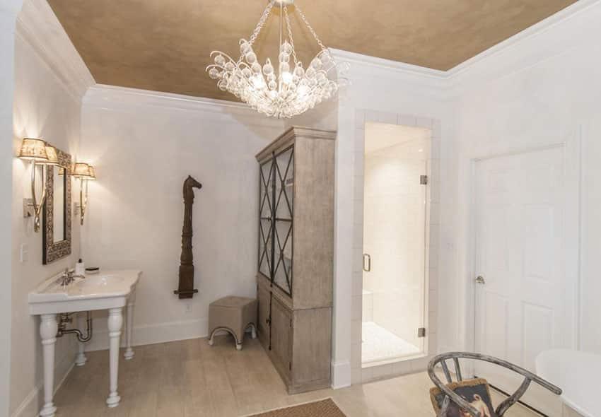 Decorative chandelier in bathroom