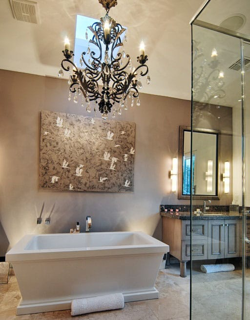 crystals looks amazing above this contemporary master bathroom suite