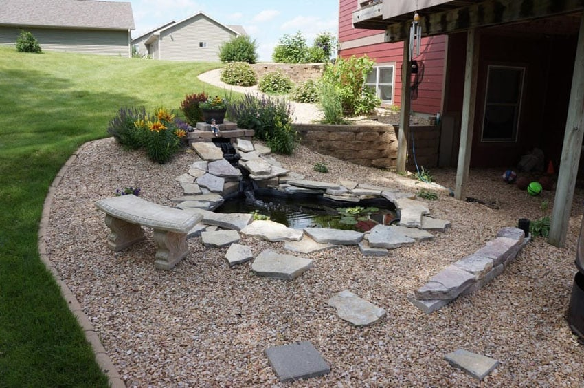 75 walkway ideas designs brick paver flagstone for Rock ponds designs