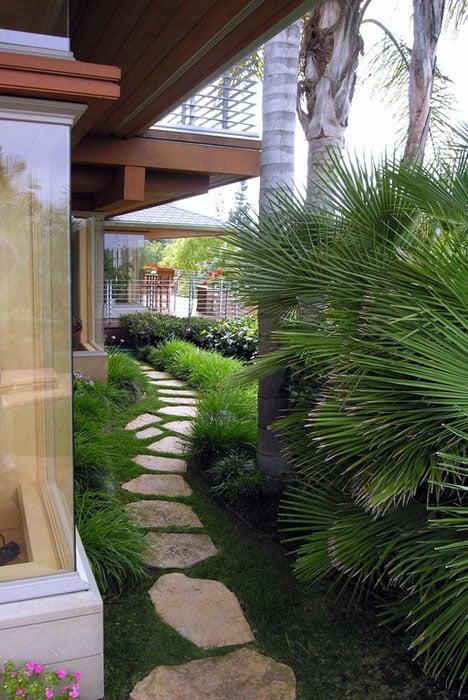 French vanilla flagstone walkway home backyard